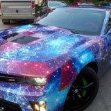 La venta caliente 1.52 * 30m de la burbuja del aire libera la galaxia de la estrella y el coche del relámpago que envuelve la etiqueta engomada del abrigo del vinilo del coche del PVC para el cuerpo de coche