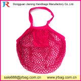Rosen-roter Baumwollnetz-Ineinander greifen-Beutel für Strand und das Einkaufen