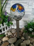 Solar de aço inoxidável bola bola luz / Crackle vidro bola cor pintura solar luz