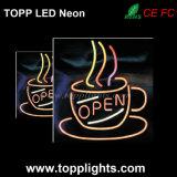 Escritorio de luz LED Junta de neón en tienda de ropa de panadería