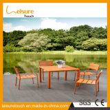 양극 처리한 알루미늄 프레임 옥외 정원 가구 싸게 현대 식탁은 4개의 의자로 놓았다