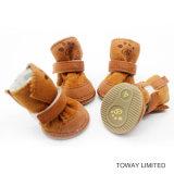 冬ペットフィートの摩耗の珊瑚のビロードのスエード犬の靴