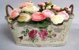 Crisol de flor cuadrado de Rose de la impresión del crisol de flor de la madera contrachapada del jardín