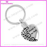 L'anello chiave dell'urna di cremazione del cuore reso personale incide la catena chiave della catena chiave del supporto su ordinazione delle ceneri (IJK2021)