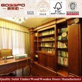 Mobiliario de oficina moderna Biblioteca de madera maciza con mesa de estudio (GSP9-029)