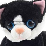 La peluche del gatto di due colori gioca il grande gatto degli occhi farcito abitudine