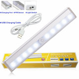 Pilha recarregável USB Closet-Light LED com sensor de movimento sem fio Night Light Stick