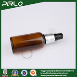 frascos de vidro opacos ambarinos do pulverizador 50ml com o pulverizador de alumínio preto da bomba