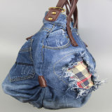 Frauen-Jeans-Handtasche, Segeltuch-Beutel, Baumwollbeiläufiges Beutel-Form-Zusatzgerät