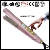 Straightener liso de flutuação elétrico profissional do cabelo do ferro da tela de toque das placas