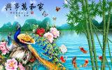 La riquezas de Phoenix y el diagrama del honor con las montañas alrededor y la pintura al óleo de la escena del bambú y del Peony