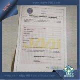 Custom горячей штамповки Документ по безопасности с голограммами бумага печать