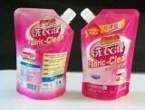 Plástico de detergente de lavandería bolsa con el canalón para la ropa