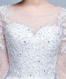Vestido 2017 cheio de Sleeveswedding do barco do Applique do laço da pedra do corpete do espartilho do vestido de esfera
