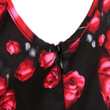 Plus Size Flower acetinado impresso fez um vestido de festa de Linha