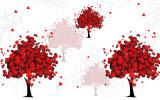 ホーム装飾の油絵のための赤い中心パターンデザインの十分の木