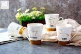 V forme tasse de café en céramique propre Logo de l'impression 10oz 12oz
