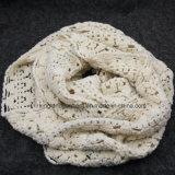 Белизна 100% акриловая Мал-Продырявила полым связанный Warp шарф шеи