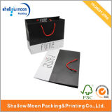 Caliente venta blanco y negro manejar bolsa de compras de papel (qy150011)
