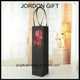 Concevoir le sac de empaquetage de papier de luxe estampé de cadeau de bouteille de vin