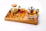 Hölzernes Tellersegment mit Griff-Tee-Platten-Vierecks-Bambusnahrungsmitteltellersegment
