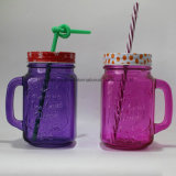 Single Colored Glass Mason Jam Jar with Handle
