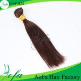 Extensões retas do cabelo humano da cor brasileira de Brown do Virgin
