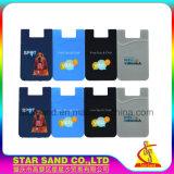 Caucho de silicona celular titular de la tarjeta de crédito para móviles