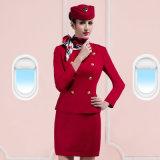 Schöne Fluglinien-Uniform der kundenspezifischen Frauen-Double-Breasted hellen roten Damen