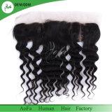 Frontal naturale puro dei capelli della linea sottile dei capelli umani della giovane donna di colore