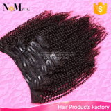120g 흑인 여성을%s 사람의 모발 연장에 있는 고정되는 Virgin 페루 사람의 모발 아프로 비꼬인 꼬부라진 클립