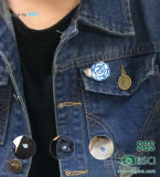 Insignia del botón del metal de la promoción de la flor Pin de la solapa de Artes del metal