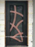 Entrada de ferro forjado exterior de porta com vidro temperado e Design de Janela