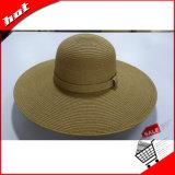 Chapéu flexível do verão do chapéu de Sun da mulher da palha larga da borda
