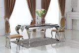 食堂の8脚の椅子が付いている中国のステンレス鋼のガラス現代家具/イタリア表