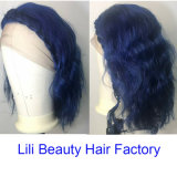 Parte azul do Carnaval de comprimento de onda de água de extensões de cabelo humano Hairwig Falso