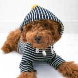 Marine-Streifen-Haustier-Hund Hoodie mit POM POM und Tasche