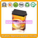 Contenitore su ordinazione di stagno del caffè con il coperchio chiuso ermeticamente di plastica, stagno del caffè con il meccanismo, barattolo di latta del metallo, contenitore per l'imballaggio del caffè