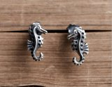 925 순은 장식 못 귀걸이 남녀 공통 특별한 해마 만들기