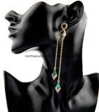 Lange rautenförmige Absinken-Ohrring-Form-Goldschmucksachen für Mädchen