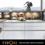 張り合わせられた食器棚Tivo-D008hとの暗い灰色の島デザイン