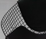 Morden Dining Kd Black Back PU 쿠션 와이어 다이아몬드 의자