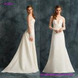 La robe de mariage romantique avec la taille et les manchettes embellies Main-Brodées