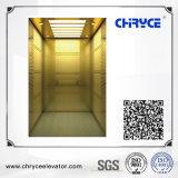 Золотистое вытравливание зеркала с машиной Roomless лифта пассажира нержавеющей стали волосяного покрова
