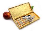 Cutlery комплекта обеда нержавеющей стали 4PCS установил с золотистым случаем коробки