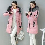 O inverno Novo Long-Paragraph mulheres Mianfu Slim Coreano mais espesso casaco quente Colar Mianmao jaqueta para baixo