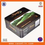 Impresión de CMYK rectangular de metal caja de la lata de té de encargo con tapa abatible