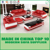Sofá seccional de madera del cuero genuino de los muebles de oficinas