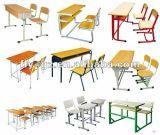 나무로 되는 단순한 설계 Pouple 두 배 학교 책상 및 의자