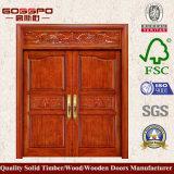 Doppi portelli di entrata di legno solidi di mogano (GSP1-019)